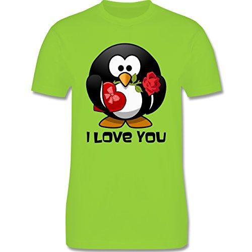 Valentinstag - Pinguin Rose Pralinen Geschenk - Herren Premium T-Shirt Hellgrün