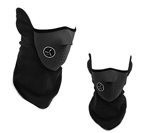 SKL Neopren Winter Ski Maske aus Baumwolle Neck Warmer Fleece-Schutz ausgestattet mit Klettverschluss, verstellbarer belüftet Schließen Biker Motorrad Facemask schwarz schwarz