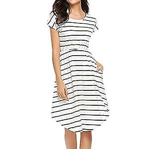 Ladies Tunic Knee Length Dress, Kanpola Women's Summer Casual Short Sleeve Elastic Waist Striped Beach Midi Dress With Pockets