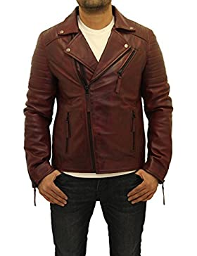 Hombres Borgo–a Brando doble Zip Real Leather Quilted Biker corto chaqueta de cuello