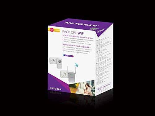 NETGEAR PLPW1000-100FRS Pack de 2 CPL 1000 Mbps dernière génération - 1 CPL Filaire avec prise Filtrée + 1 CPL Wifi