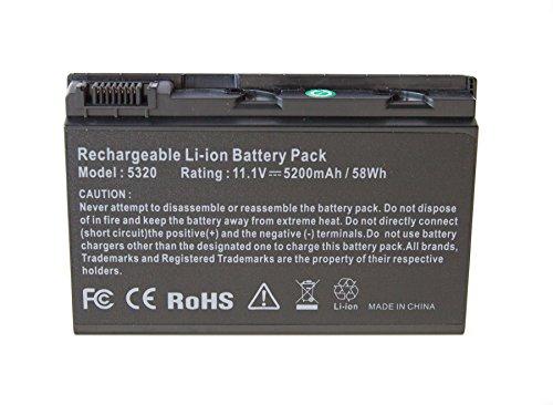 Oem batteria di ricambio batteria per portatile ACER Extensa 50005210522052305230E, TravelMate 522053105320e etc, 10,8–11,1V/5200mAh, Replacement