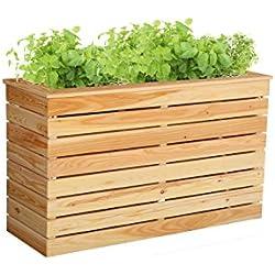 HOQ 63000262 - Hochbeet 120 x 40 x 72 cm aus 16 mm Lärchenholz mit Pflanzenvlies
