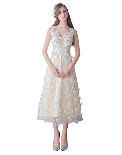 Beauty-Emily Spitze-sehen-Ohne Arm Mittelkalb-Brautjunfer-Kleid Beige