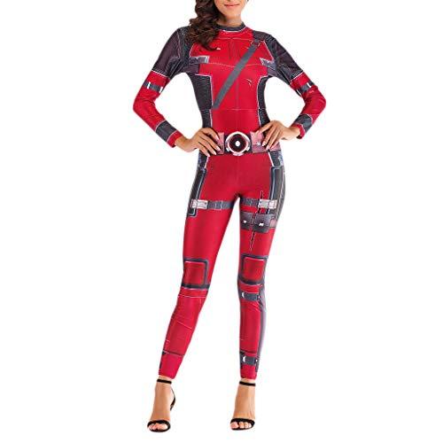 Lady Deadpool Kostüm - NDHSH Deadpool Avengers Cosplay Kostüm Womens Sexy Jumpsuit Outfit Halloween Maskerade Geburtstag Party Kostüm Geschenk,Red-M