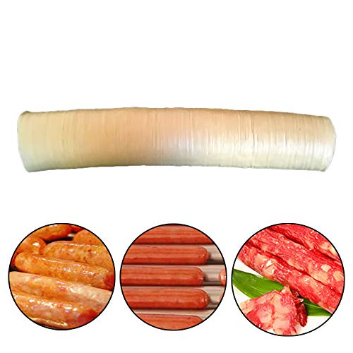 Souarts 14m Wursthülle Wurstdarm Kunstdarm für Wurstherstellung Naturdarm Trockenfleisch Gehäuse für Wurstmacher Maschine Hot Dog Durchmesser 26mm (Maschine Kollagen)