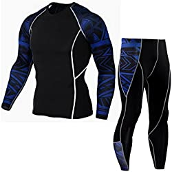 Zarup♥♥♥Hombre Entrenamiento Leggings Fitness Sports Gym Running Yoga Athletic Pantalones + Traje de camisa (L, Azul)
