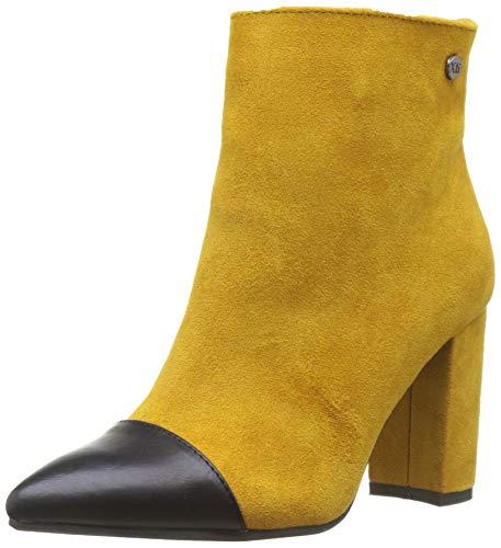 Botines amarillo para mujer con punta de tacón ancho