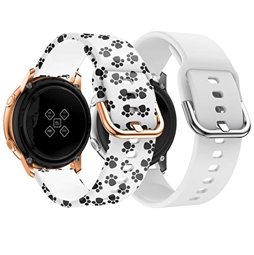 Yayuu Bracelet de Montre pour Samsung Galaxy Watch Active 40mm, 20mm Bande  de Remplacement en Silicone Sangle pour Galaxy Watch 42mm/Gear Sport/Gear