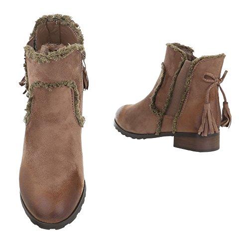 Komfort Stiefeletten Damenschuhe Schlupfstiefel Blockabsatz Blockabsatz Reißverschluss Ital-Design Stiefeletten Camel