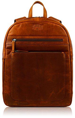 Klondike 1896 Echtleder Rucksack 'Sade', schicker und robuster Backpack aus echtem Leder für Damen und Herren, Cognac Damen Gold Digger