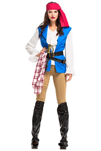 Jerho Langarm Piratenkapitän Kostüm Halloween Kostüm Blau Weiß für - Damen Kostüm Shipmate
