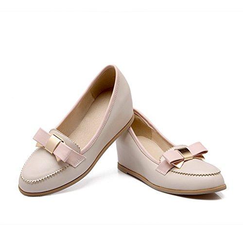 Inserido Creme Toe Senhoras Bombas Médio De Sapatos Voguezone009 Puxar Salto De Rodada OzE7qY