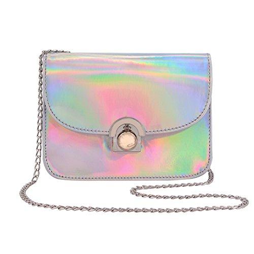 Novias Boutique Frauen Mädchen PU Leder Fashion Candy Cross Body Schultertasche Kette Tasche (Silber) (Tasche Candy)