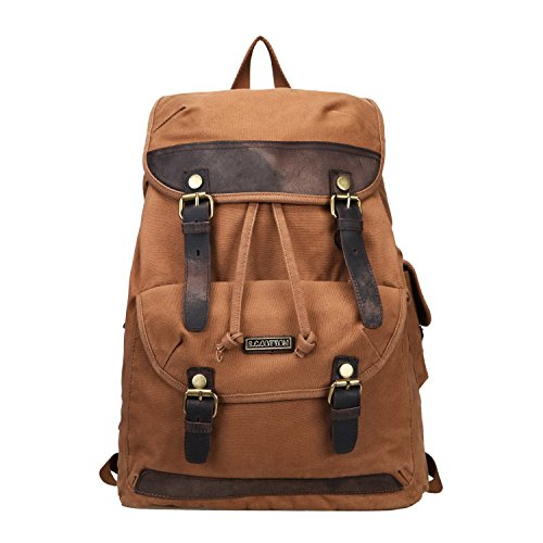 Imagen de fafada de hombre retro bolsa de lona  al aire libre viajes  escalada impermeable, canela marrón  44020424