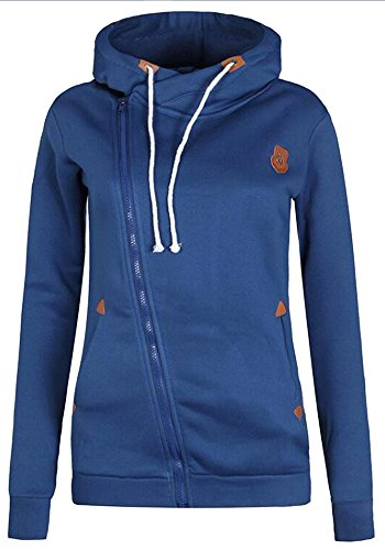 Vogue of Eden Women's Funnel Neck Hoodie Pullover With Pocket, headgear and Zipper, Blue, L (Blue Striped Crewneck Pullover)