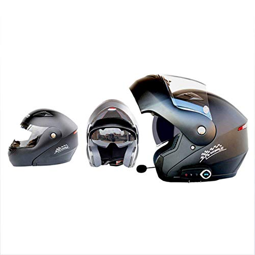 M-tk caschi moto modulari bluetooth + fm dot flip up touring caschi auricolare bluetooth dual-speaker integrato con microfono per risposta automatica,black,l