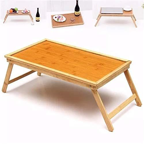 Faltbare Holz Bambus Laptop Bett-Behälter Frühstück Laptop-Schreibtisch Tee-Anrichte for Home Office Stehen (Farbe : Braun, Größe : Einheitsgröße)