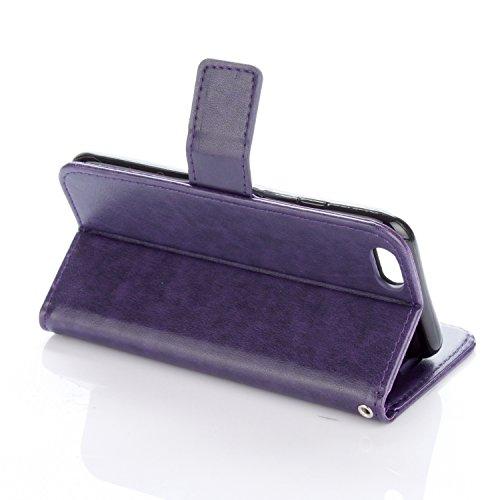 JIALUN-étui pour téléphone Pure Ribbon Card Slot Wallet Fonction Flat Open With Magnetic Buckle Phone Shell pour IPhone 6 et 6s ( Color : Beige ) Purple