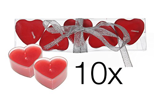 10x Kerzen Hochzeit Liebe Set Deko Dekoration für Sie und Ihn für Geschenke mit Kerzen Teelicht Herzkerze Herz Herzform Herz (Kerzen Herz)