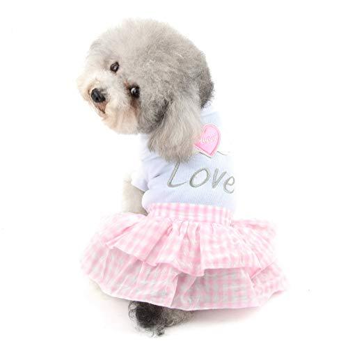 SELMAI Süßes Herz Shirt Prinzessin kariert Stufenkleid für kleine Hunde Katzen Welpen Sommer Outfits Hochzeit Geburtstag Party Kostüm Yorkie Chihuahua Shih Tzu Kleidung