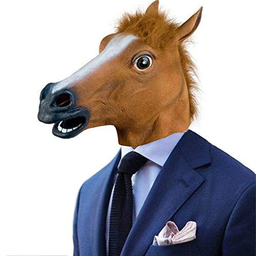 Hffan Pferdekopf Maske Latex Stützenart Spielt Party Halloween Maske Masquerade Requisiten Party Kostüm Gesichtsmaske Cosplay Karneval Kopfmask Pferdekopf Abdeckung -