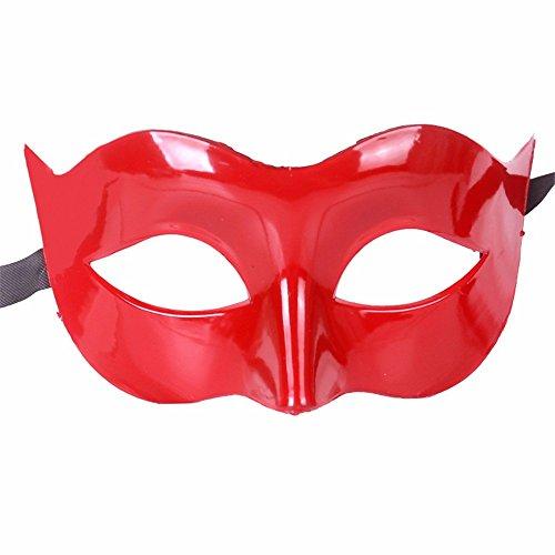 Gesichtsschutz Domino falsche Front Halloween Kostüm Tanz Maske Halbes Gesicht Tanz Maske Flache Maske männliche Maske Weiblich Rot ()