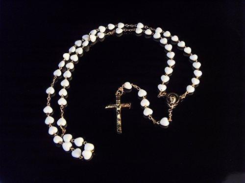 Weiß Rosenkranz Halskette Glas Herz goldfarben, katholischer Slogan (Eine Gold Fügen Sie Perlen-halskette)