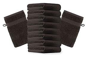 10er Pack Waschhandschuhe Waschlappen Premium Größe 16x21 cm Farbe Dunkel Braun Kordelaufhänger 100% Baumwolle