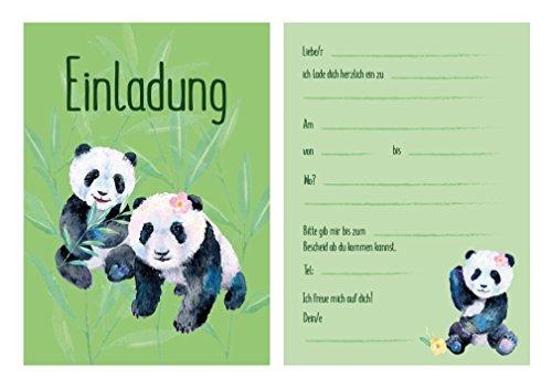Pandabären Einladungskarten zum Kindergeburtstag mit Panda Motiv, Geburtstagseinladungen/Einladungen Karten Set für Mädchen Geburtstagsparty mit Einladungstext (9)