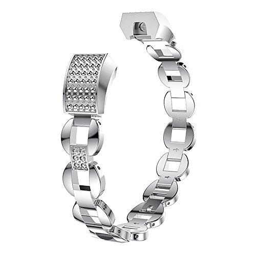 Fitbit Alta und Alta HR Bands, Jewelry Armband Armreif verstellbar mit Strass Bling Ersatz für Fitbit Alta HR und Alta Frauen Silber Rose Gold Geschenk-Box, style 2 silver