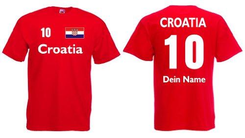 Fruit of the Loom Croatia/Kroatien Trikot mit Wunschname und Wunschnummerrot S