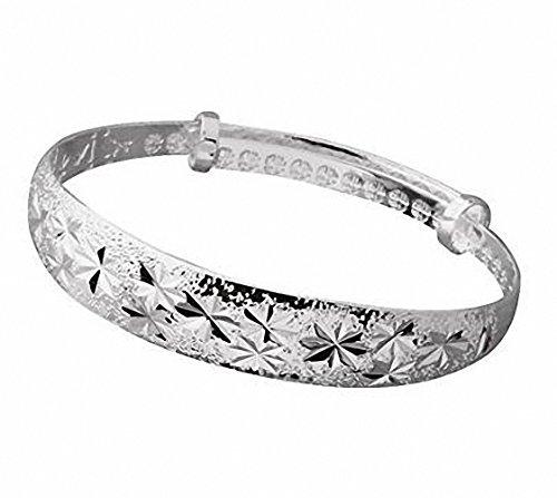 Nanhong Armreifen, 925Sterling-Silber, glitzernde Sterne, filigran, Schneeflocken (Filigran-ring Größe 7)