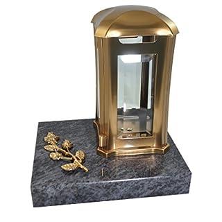 Kunst-Art-Köhl Grabkomposition bestehend aus Einer Grablaterne aus Edelstahl sowie einem Ornament - Rose montiert auf einem Granitsockel (Orion, Edelstahl lackiert)