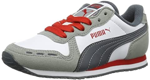 Puma Cabana Racer SL Jr 351979 Unisex-Kinder Sneaker, Mehrfarbig (limestone gray-white-turbulence-high risk red 24), EU 39 (UK 6) (US