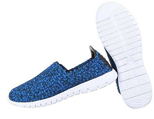 Herren Halbschuhe Schuhe Slipper Schwarz Blau