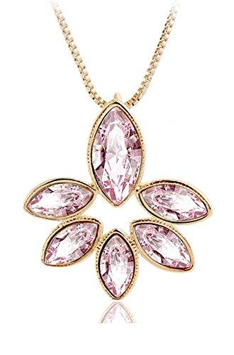 Donne placcato oro giallo luce rosa petali-Dazzling Fiore con Ciondolo con cristalli Swarovski