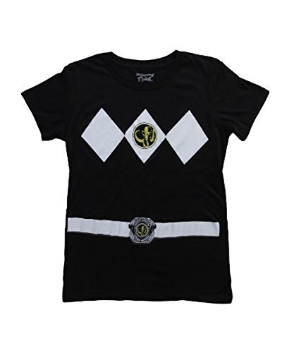 (Power Rangers schwarz Ranger Kostüm schwarz Junior T-Shirt (Junior X-Large))