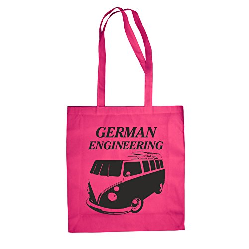 Baumwolltasche Jutebeutel Bulli T1 German Engineering Auto Bus Transporter Hipster Pink