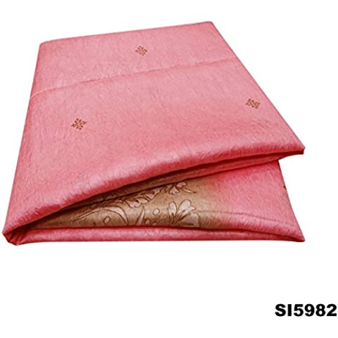 Vendimia Sari Indio Floral De Seda Impresa Mezcla Bollywood Ropa De Sport Aplastada Textura De La Decoración De Color Rosa Sari 5Yd