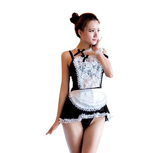 West See Damen Baby Dolls G-String Dienstmädchen Cosplay Nachtwäsche Kleid Dessous Reizwäsche (Schwarz)