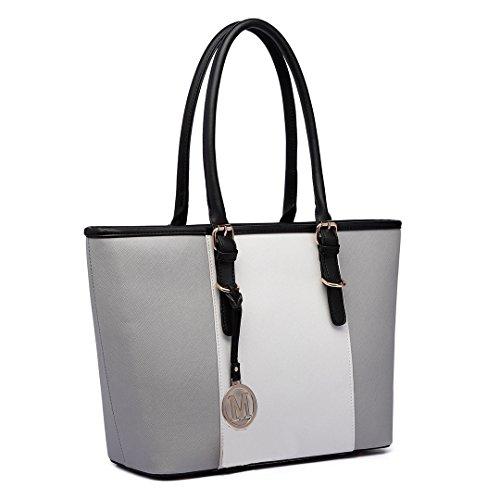 Borsa A Tracolla Da Donna In Pelle Di Lulu Miss Lubb (lm1643-blu Scuro / Bianco) Grigio / Bianco