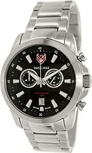Swiss Eagle - SE-9055-11 - Zermatt - Montre Homme - Quartz Chronographe - Cadran Noir - Bracelet Acier Gris
