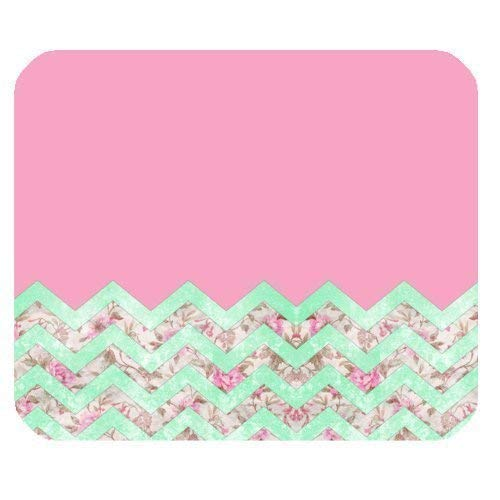 Girly Mint Pink Floral Chevron Zigzag Pattern Non-Slip Rubber Mousepad 7.08X8.66 inches/18X22 cm Gaming Mouse Pad (Chevron Mini-maus)