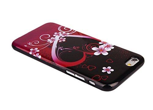 """Kit Me Out FR Coque en gel TPU pour Apple iPhone 6 / 6S 4.7"""" pouces - blanc / rouge / noir coeur style tatouage noir/rose coeur et fleurs"""