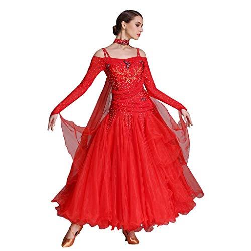 Dance Kostüm Illusion - KLEDDP Langärmliges Modern Dance Kleid, National Standard Dance Competition Kleid, Big Swing Rock (Color : Rede, Size : XL)