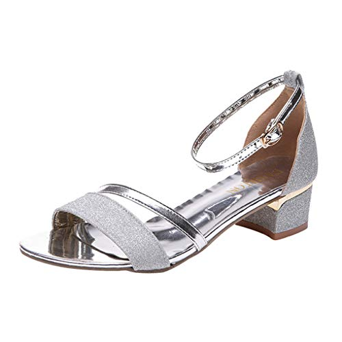 Dorical Sandalen/Damenschuhe Pailletten Schnalle-Schuhe Blockabsatz Elegant Riemchensandalen Peeptoe Knöchelriemen Sandaletten High Heels Schuhe mit Absatz Freizeit Party-Schuhe(Silber,36 EU)