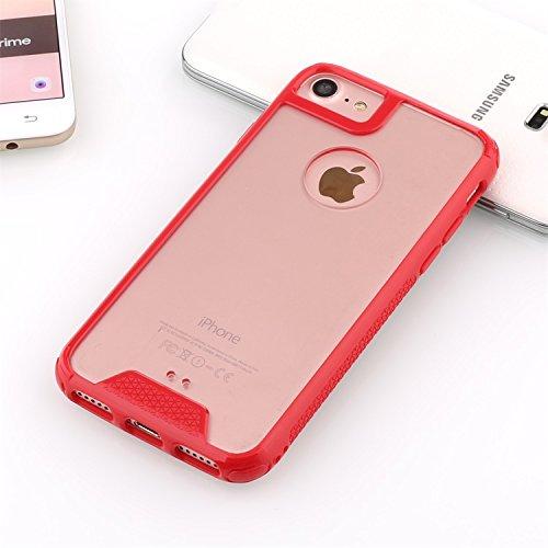 iPhone 7 Hülle, EasyAcc [Ultra Hybrid] [Crystal Clear] Transparente Schlanke Rutschfeste Kratzfeste Handyhülle TPU Stoßdämpfer Durchsichtige PC [Acryl] Rückschale Abdeckung Anti-verkratzen schützende  Rot