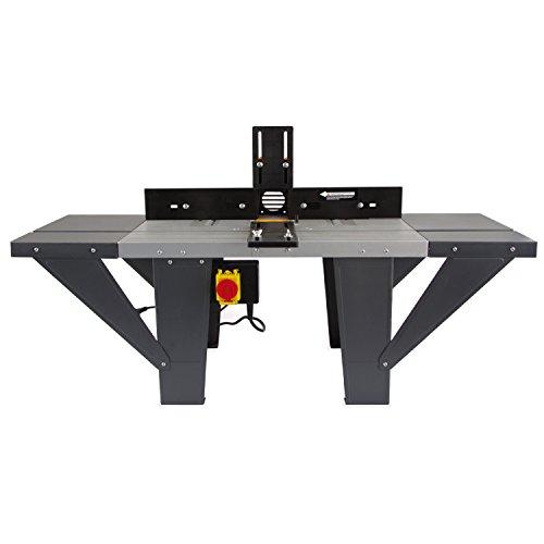 EBERTH Oberfräsentisch (1030 x 360 mm Arbeitstisch, 155 mm Fräskorbdurchmesser, 280 mm Arbeitshöhe, beidseitige Tischverlängerung, Winkelanschlag, Schutzschalter)