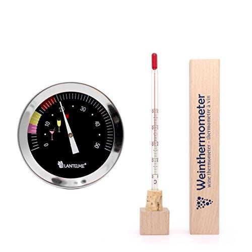 Lantelme 6666 Weinflaschen und Weinglas Thermometer Set - Weinthermometer Edelstahl und Holz Ausführung mit Analoger Weintemperatur Anzeige